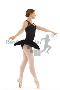 3d people sports, beautiful white 3d woman doing ballet