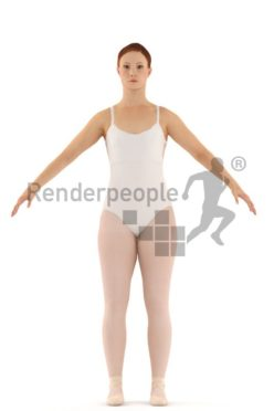3d people dancer, rigged woman in A Pose