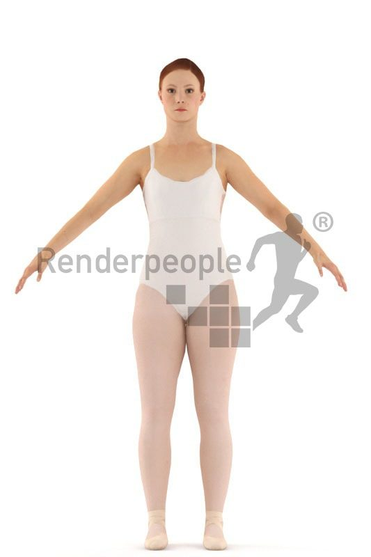 3d people dancer, white 3d man standing and smiling