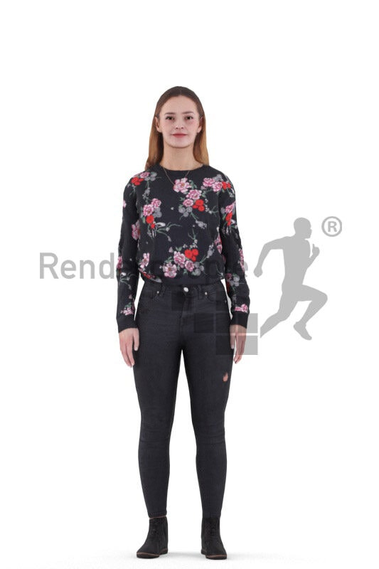 Animated human 3D model by Renderpeople – european woman in casual outfit, talking
