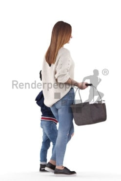 3d people casual, 3d couple mother and child, walking with a basket
