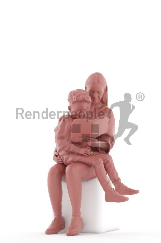 3d people casual, 3d couple mother and child, reading and sitting