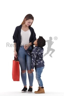 3d people casual, 3d white woman and black boy interacting in the mall