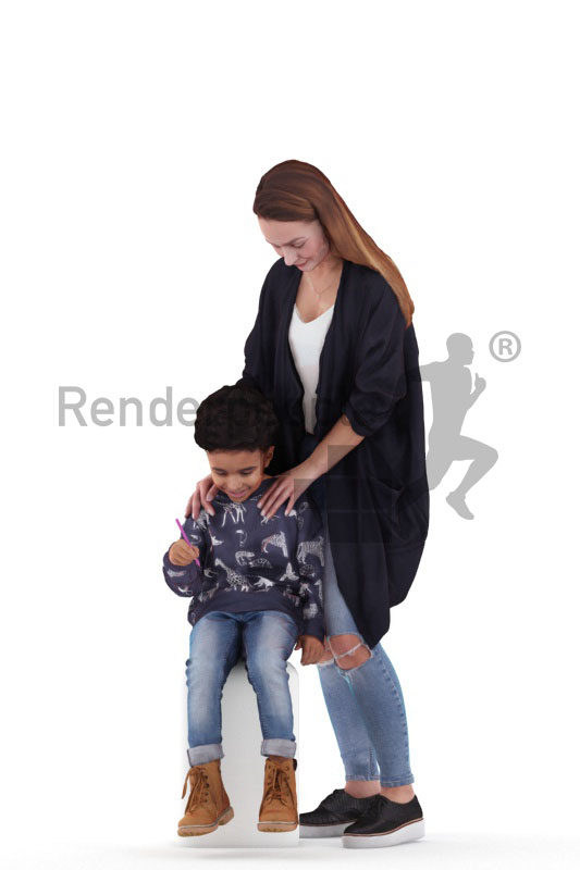 3d people casual, 3d white woman and black boy interacting