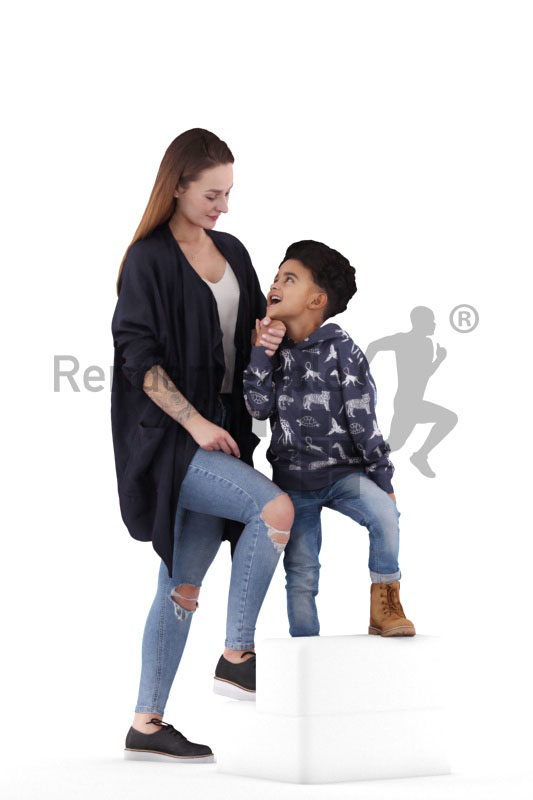 3d people casual, 3d white woman and black boy walking upstairs
