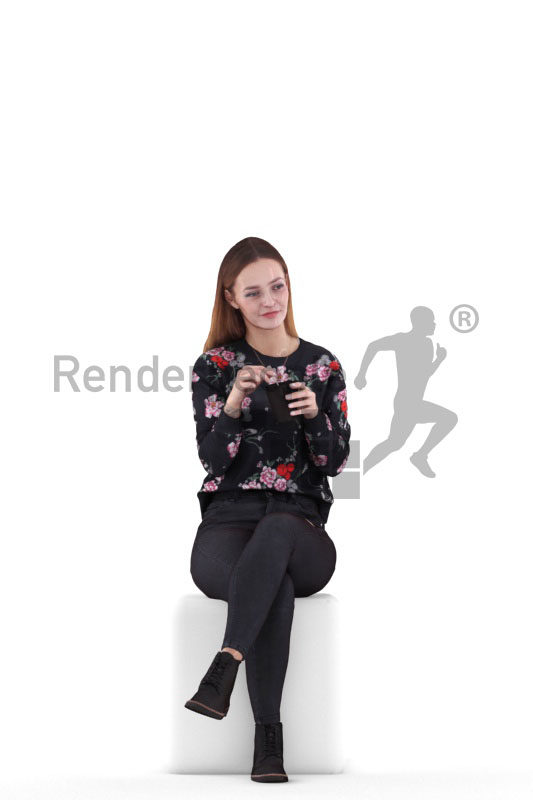 3D People model for 3ds Max and Sketch Up – european woman in casual style sitting and drinking coffee