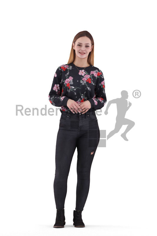 3D People model for 3ds Max and Sketch Up – european woman in casual style