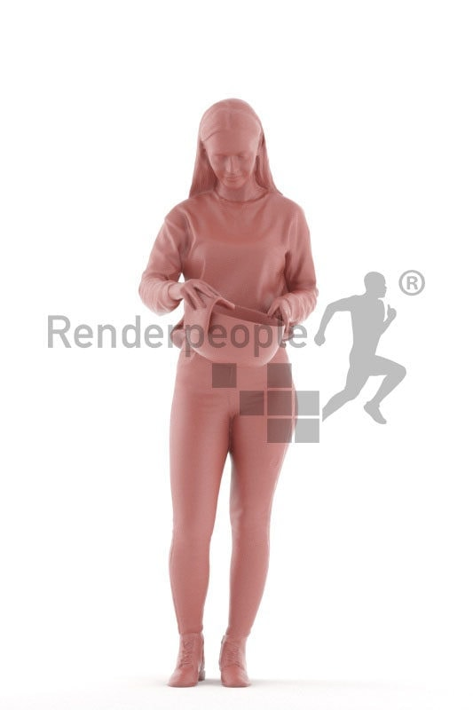 Posed 3D People model for visualization – casual european, drying dishes