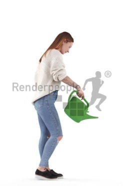 Posed 3D People model by Renderpeople – european woman with watering can