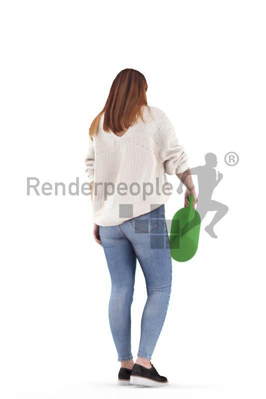 Posed 3D People model by Renderpeople – european woman with watering can