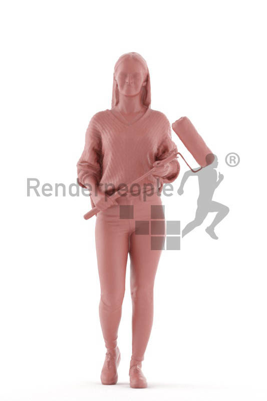 Scanned 3D People model for visualization – white woman walking, with paint roller