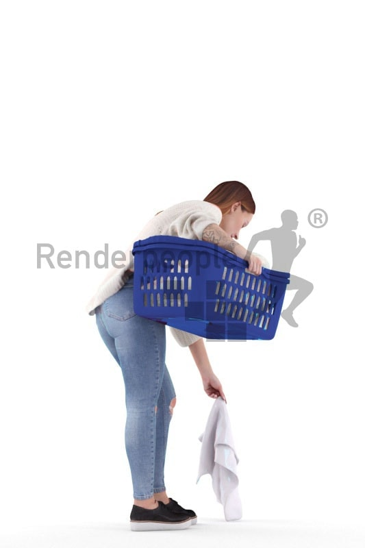 3d people casual, 3d white woman, picking up laundry with a laundry basket