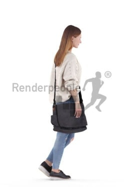 Scanned 3D People model for visualization – white woman walking, with bag