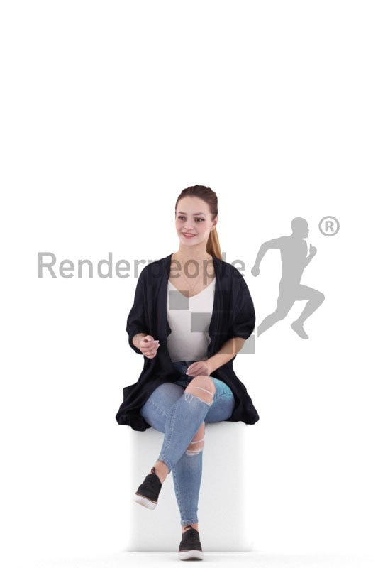 Photorealistic 3D People model by Renderpeople – woman in casual outfit, sitting