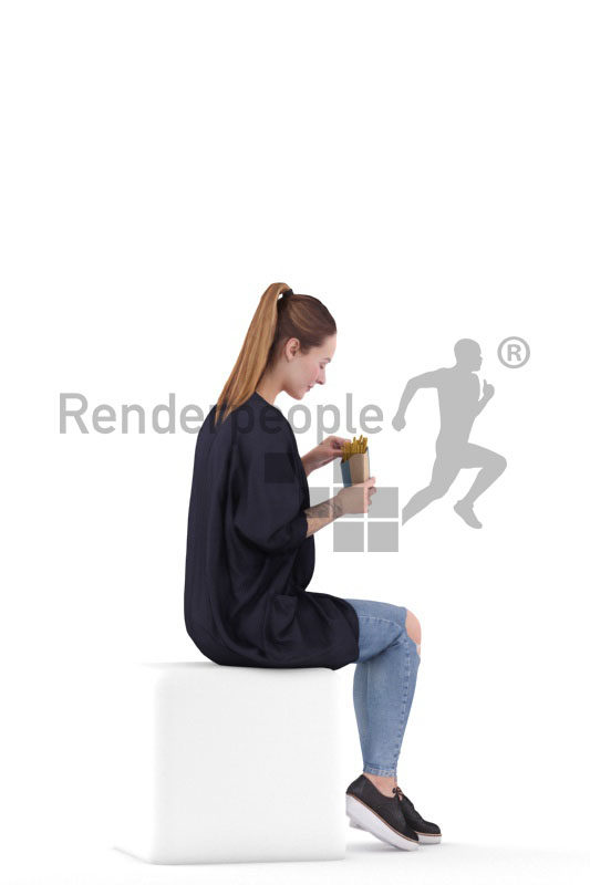 3d people casual, 3d white woman, sitting and eating fries