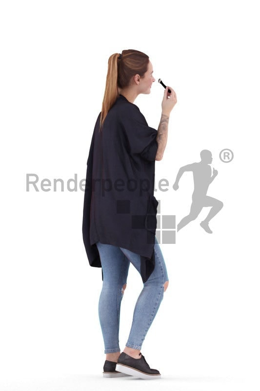 3D People model for 3ds Max and Sketch Up – european woman, doing her make up