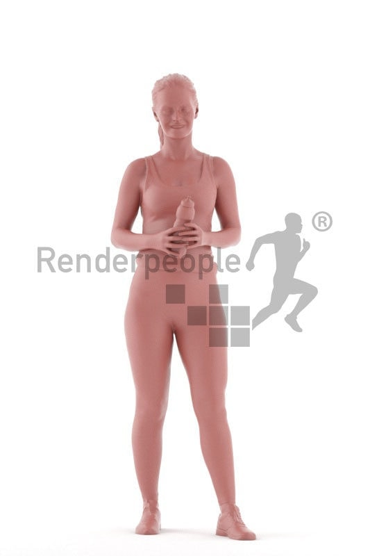 3d people sports, 3d white woman, standing