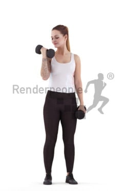 Scanned 3D People model for visualization – whute woman, sports, lifting weights