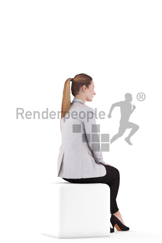 3d people business,3d white woman, sitting