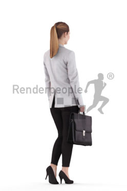 Scanned 3D People model for visualization – european woman, business, walking