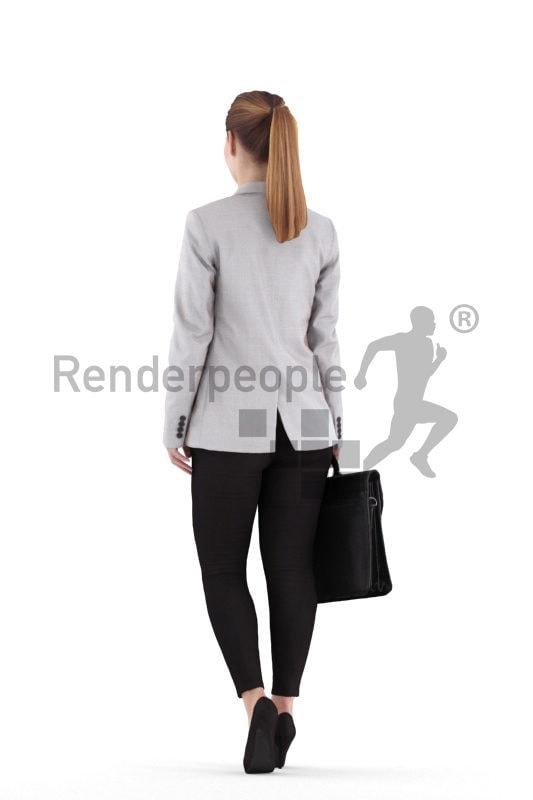 Scanned 3D People model for visualization – european woman, business, walking