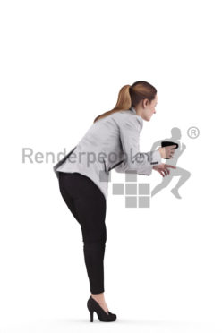 Scanned human 3D model by Renderpeople – european woman in business look, bending down