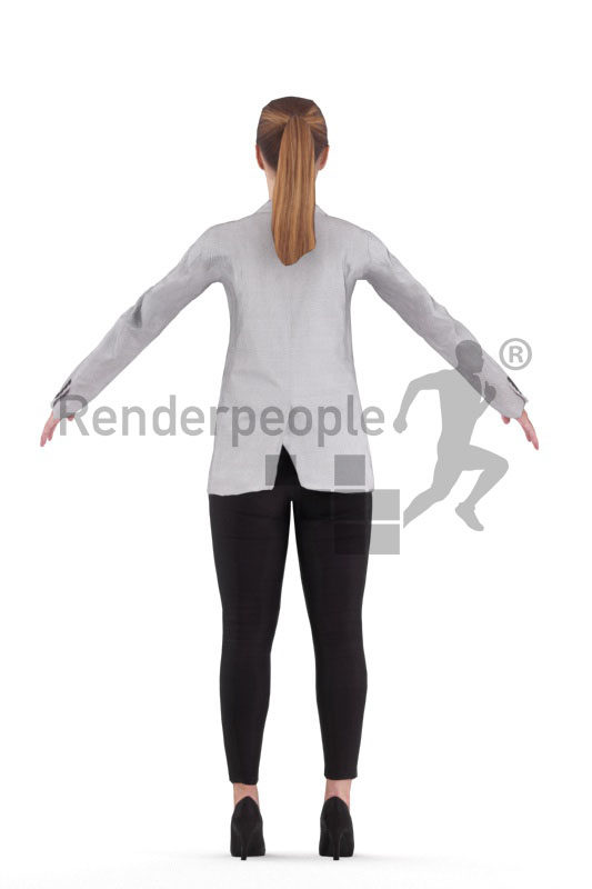 Rigged human 3D model by Renderpeople – white female in business look
