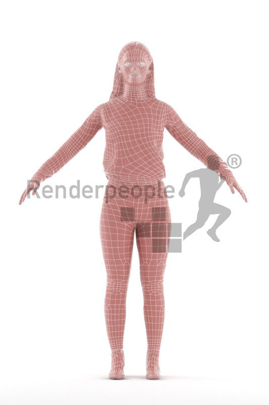 Rigged 3D People model for Maya and 3ds Max – white woman in casual outfit