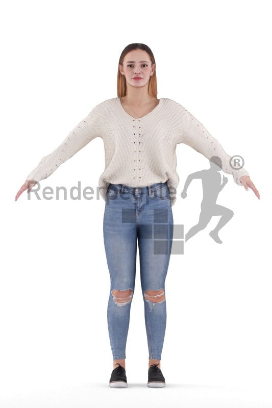 Rigged and retopologized 3D People model – casual european woman