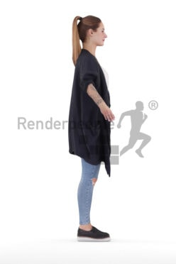 Rigged 3D People model for Maya and Cinema 4D – european woman with casual cardigan and ripped jeans