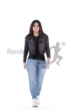 3D People model for animations – european female, with leather jacket, walking
