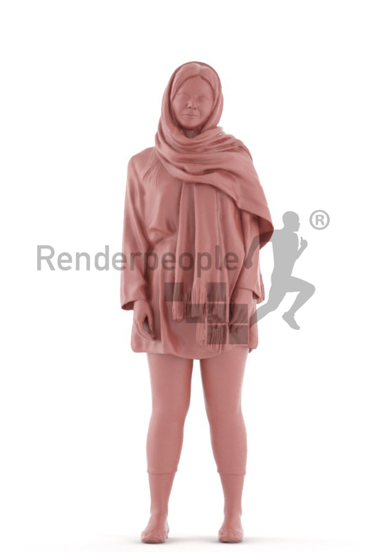 3d people casual, young woman standing and waiting