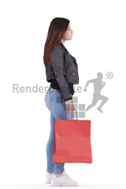 3d people casual, young woman standing and waiting with a shopping bag in her hand