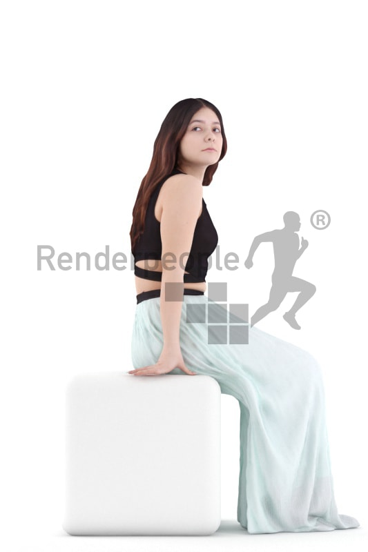 3d people casual, young woman sitting