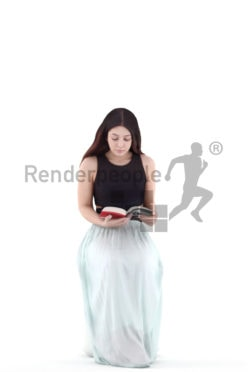 3d people casual, young woman sitting and reading