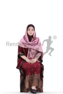 3d people casual, young woman sitting and waiting