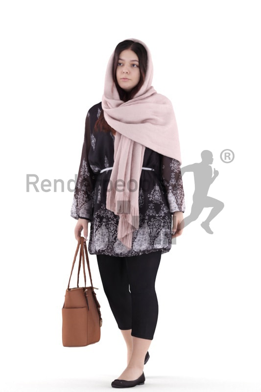 3d people casual, young woman walking with her purse