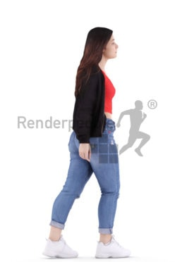 3d people casual, young woman walking 3d people casual, young woman walking