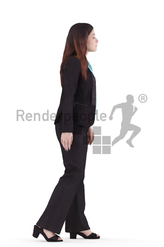 3d people business, young woman walking