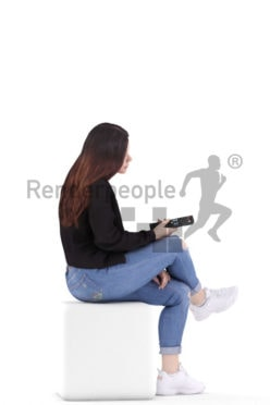 3d people casual, young woman sitting holding a remote
