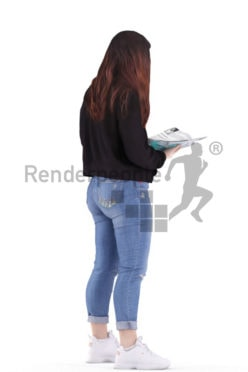 3d people casual, young woman standing and reading a magazine