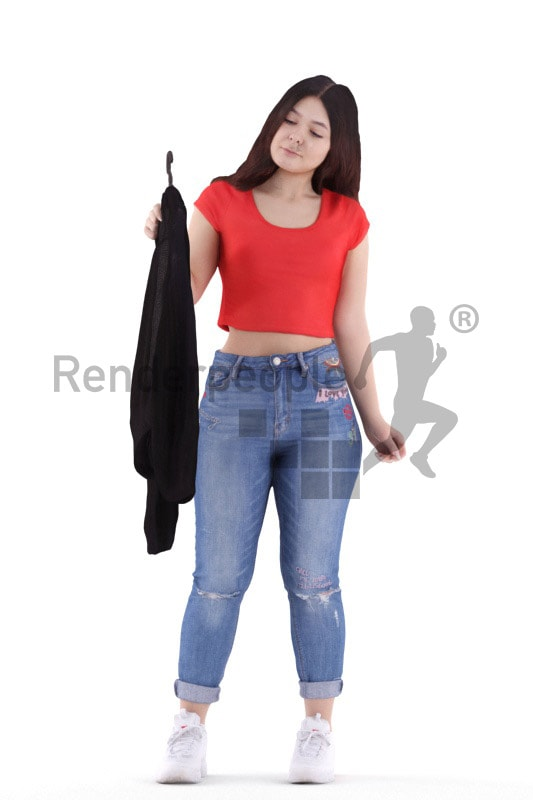 3d people casual, young woman standing and looking at clothing
