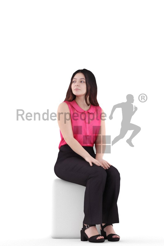 3d people business, young woman sitting