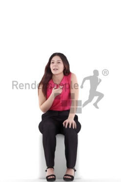 3d people business, young woman sitting and talking