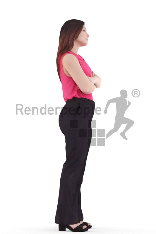 3d people business, young woman standing wither arms crossed