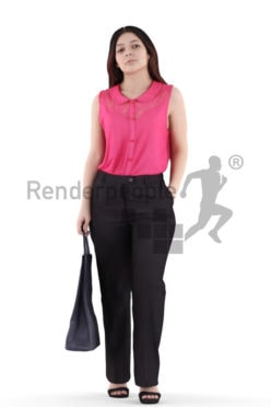 3d people business, young woman walking with shopping bag