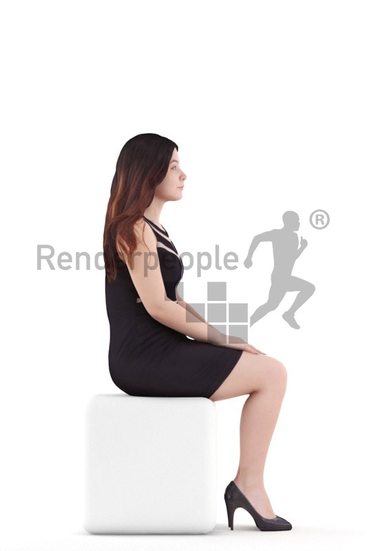 3d people event, young woman sitting