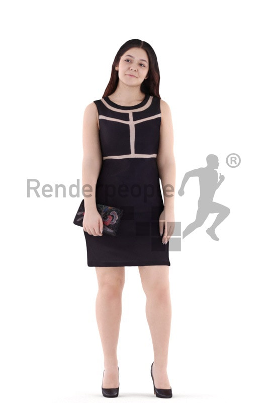 3d people event, young woman standing