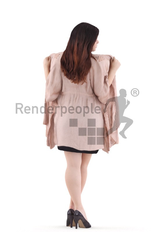 3d people event, young woman standing, putting a jacket on