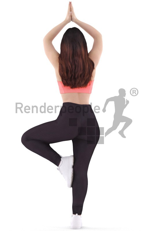 3d people sport, young woman standing, doing yoga